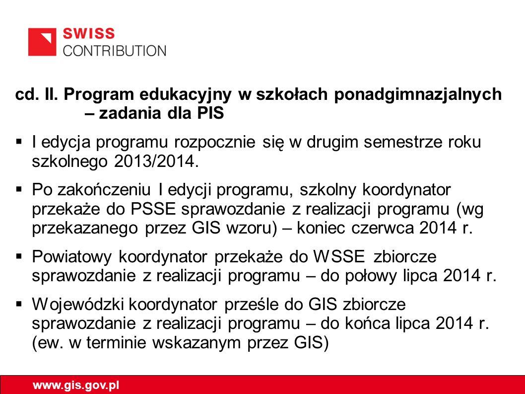 cd. II. Program edukacyjny w szkołach ponadgimnazjalnych