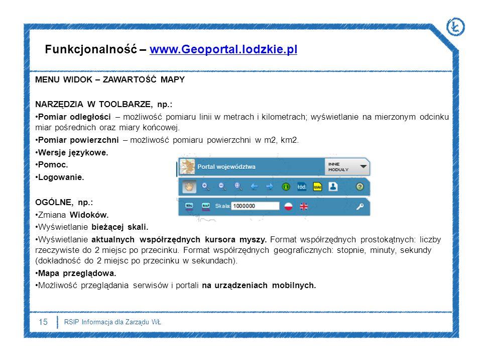 Funkcjonalność – www.Geoportal.lodzkie.pl