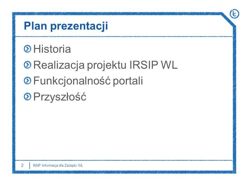 Realizacja projektu IRSIP WL Funkcjonalność portali Przyszłość
