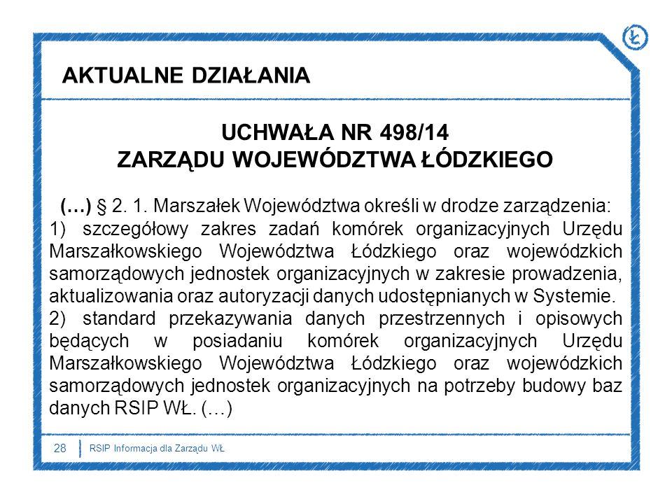 AKTUALNE DZIAŁANIA UCHWAŁA NR 498/14 ZARZĄDU WOJEWÓDZTWA ŁÓDZKIEGO (…) § 2. 1. Marszałek Województwa określi w drodze zarządzenia: