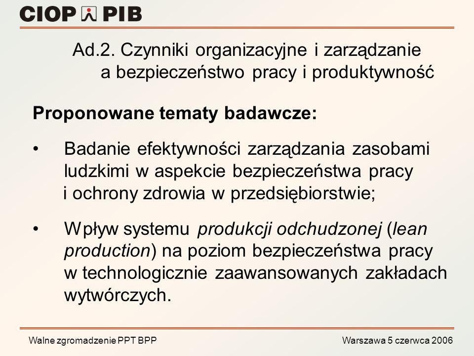 Ad.2. Czynniki organizacyjne i zarządzanie a bezpieczeństwo pracy i produktywność