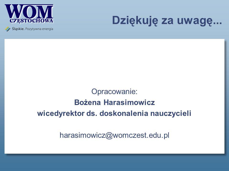 Dziękuję za uwagę... Opracowanie: Bożena Harasimowicz wicedyrektor ds.