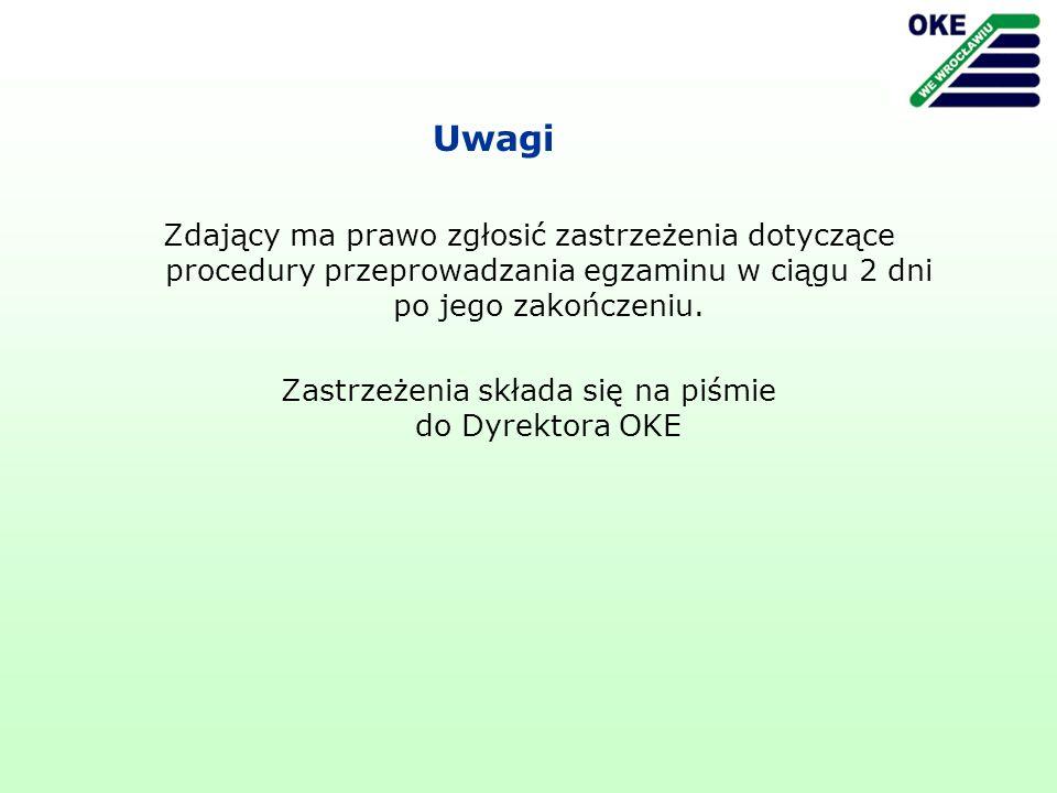 Zastrzeżenia składa się na piśmie do Dyrektora OKE