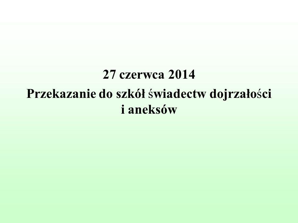 27 czerwca 2014 Przekazanie do szkół świadectw dojrzałości i aneksów