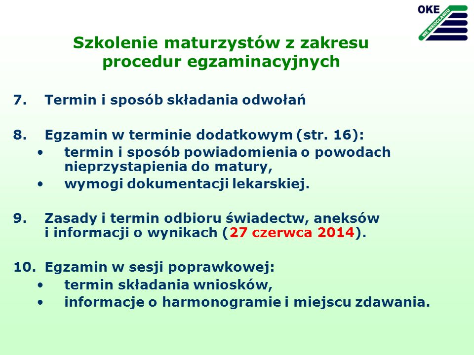 Szkolenie maturzystów z zakresu procedur egzaminacyjnych