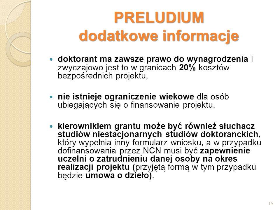 PRELUDIUM dodatkowe informacje