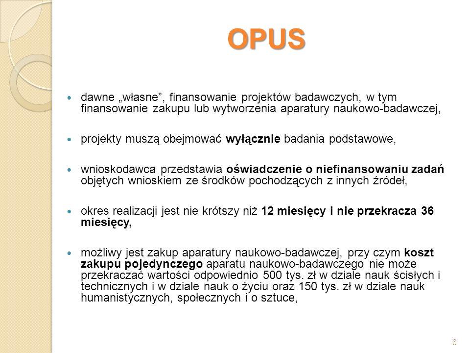 """OPUS dawne """"własne , finansowanie projektów badawczych, w tym finansowanie zakupu lub wytworzenia aparatury naukowo-badawczej,"""
