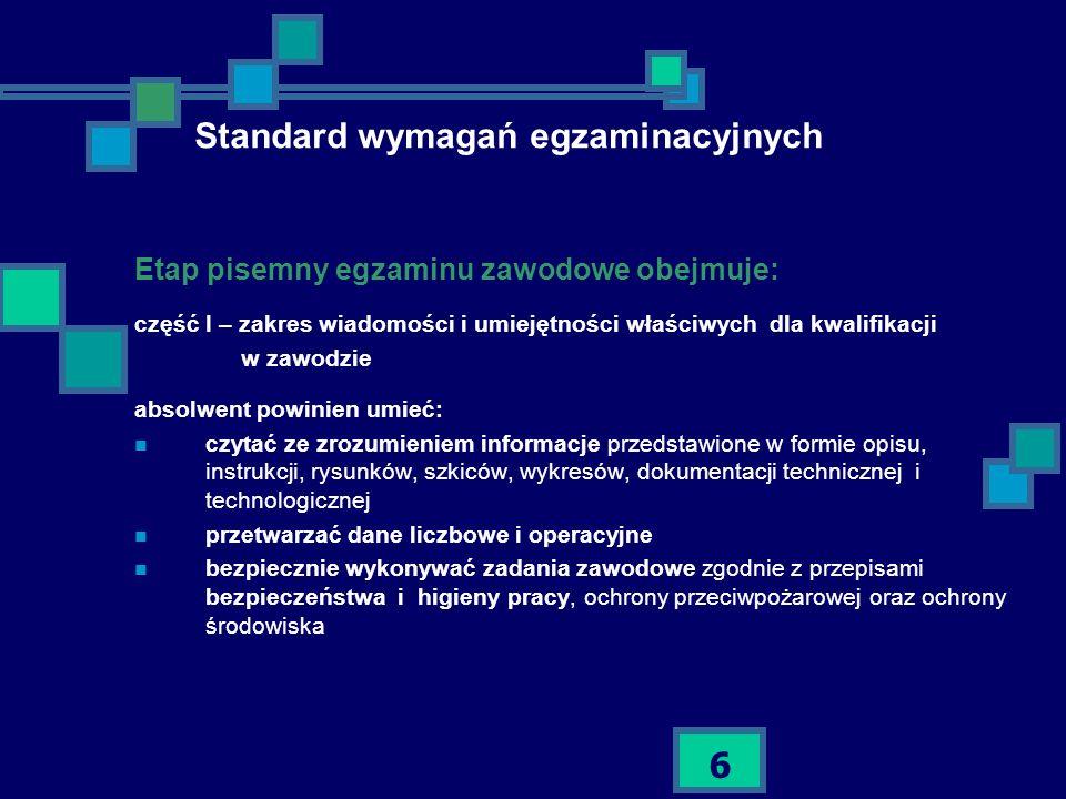 Standard wymagań egzaminacyjnych