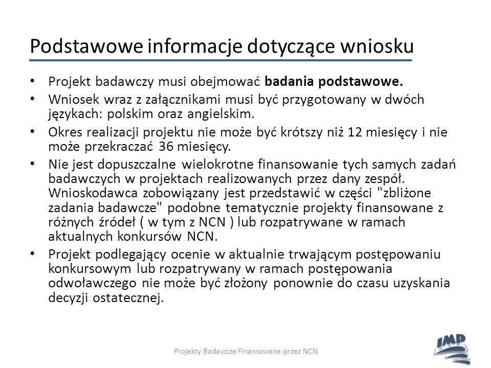Podstawowe informacje dotyczące wniosku