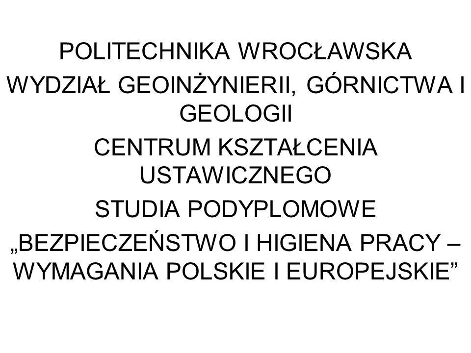 POLITECHNIKA WROCŁAWSKA WYDZIAŁ GEOINŻYNIERII, GÓRNICTWA I GEOLOGII