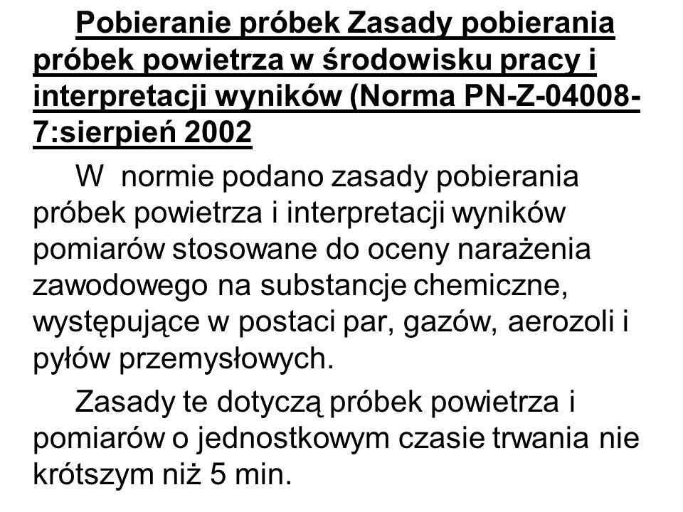 Pobieranie próbek Zasady pobierania próbek powietrza w środowisku pracy i interpretacji wyników (Norma PN-Z-04008-7:sierpień 2002