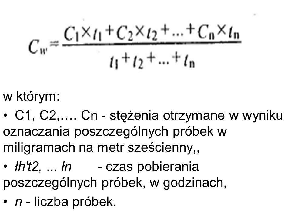 w którym: C1, C2,…. Cn - stężenia otrzymane w wyniku oznaczania poszczególnych próbek w miligramach na metr sześcienny,,