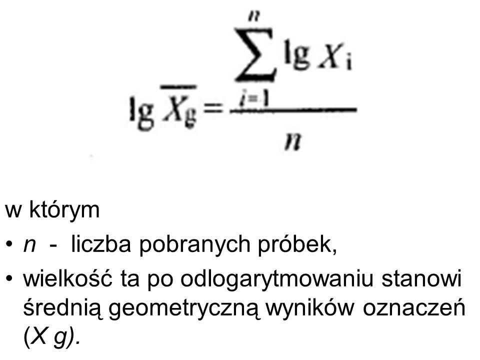 w którym n - liczba pobranych próbek, wielkość ta po odlogarytmowaniu stanowi średnią geometryczną wyników oznaczeń (X g).