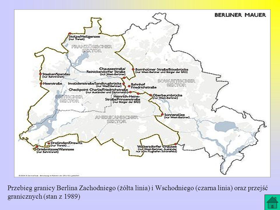 Przebieg granicy Berlina Zachodniego (żółta linia) i Wschodniego (czarna linia) oraz przejść granicznych (stan z 1989)