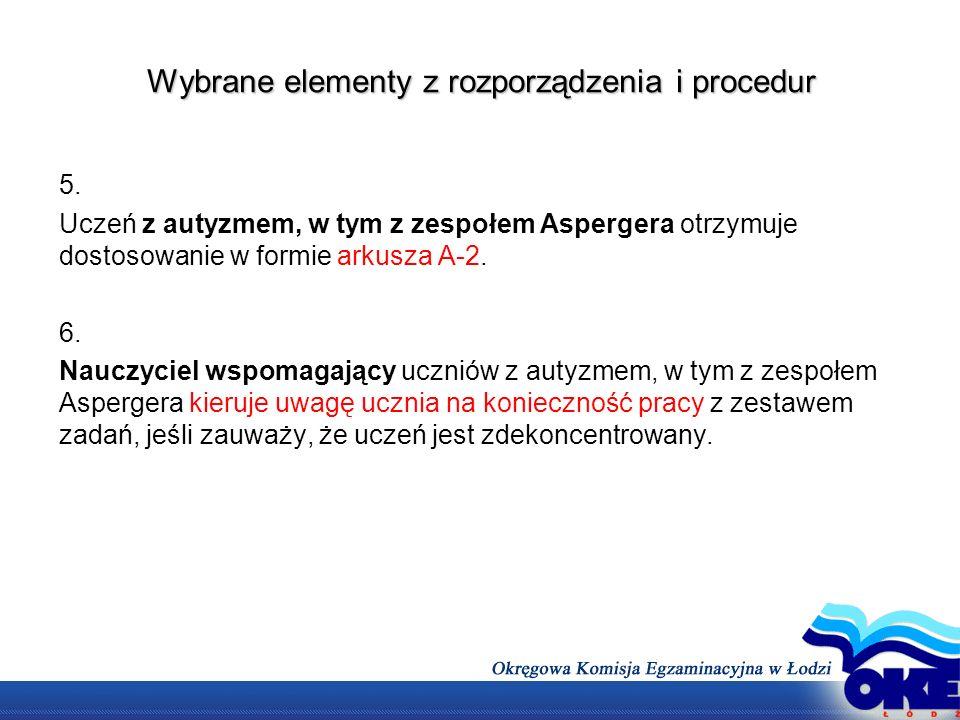 Wybrane elementy z rozporządzenia i procedur