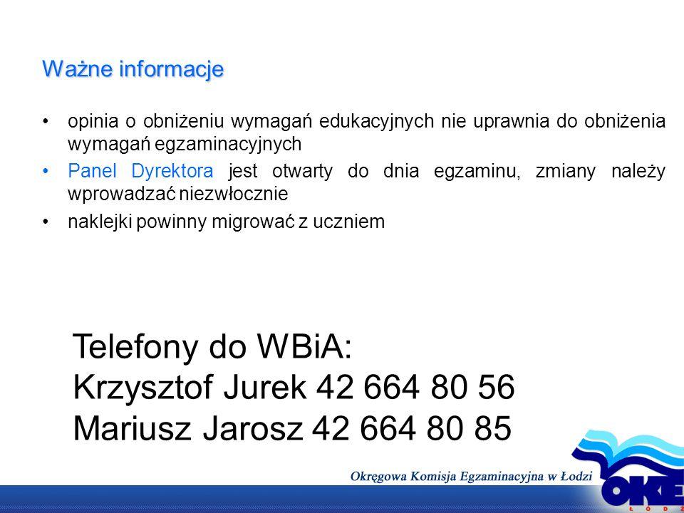 Telefony do WBiA: Krzysztof Jurek 42 664 80 56