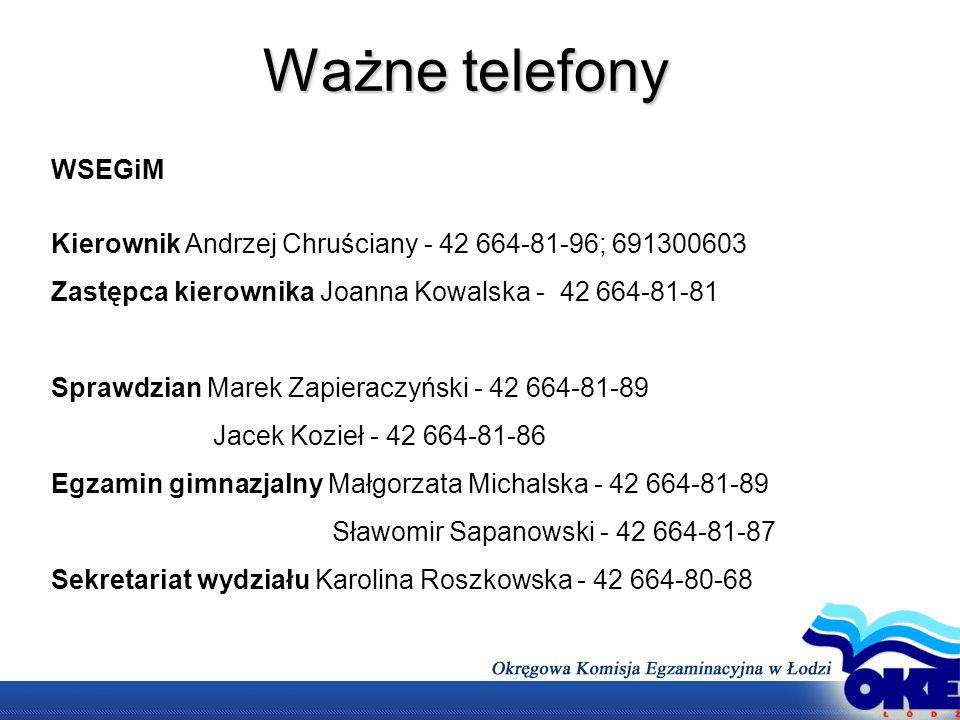 Ważne telefony WSEGiM. Kierownik Andrzej Chruściany - 42 664-81-96; 691300603. Zastępca kierownika Joanna Kowalska - 42 664-81-81.