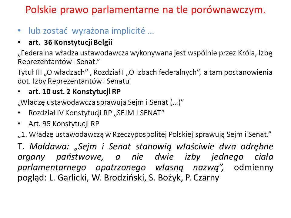 Polskie prawo parlamentarne na tle porównawczym.