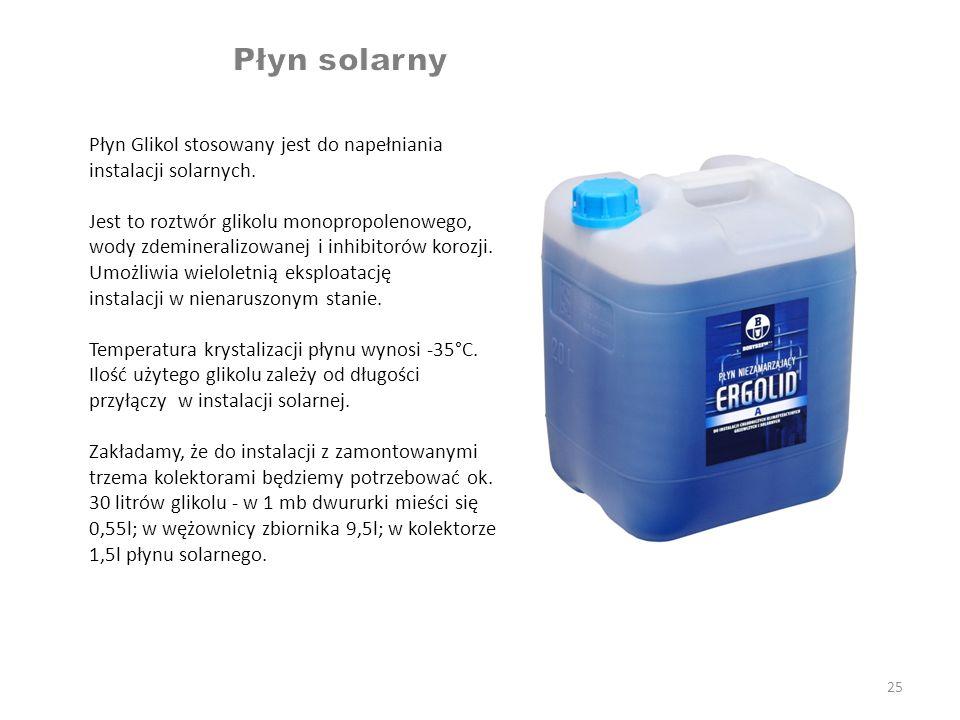 Płyn solarny Płyn Glikol stosowany jest do napełniania