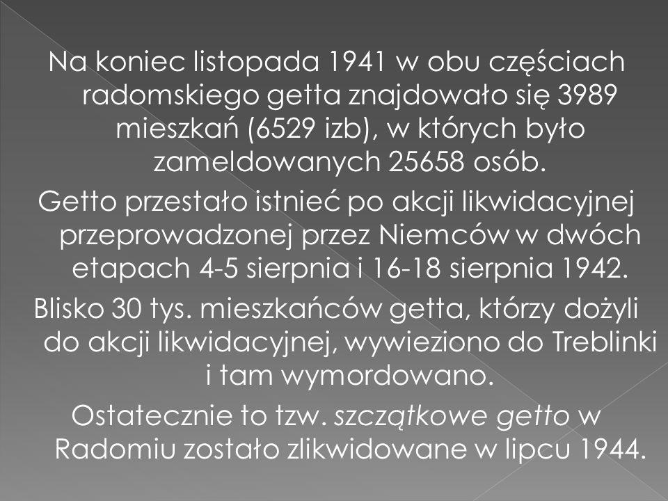 Na koniec listopada 1941 w obu częściach radomskiego getta znajdowało się 3989 mieszkań (6529 izb), w których było zameldowanych 25658 osób.