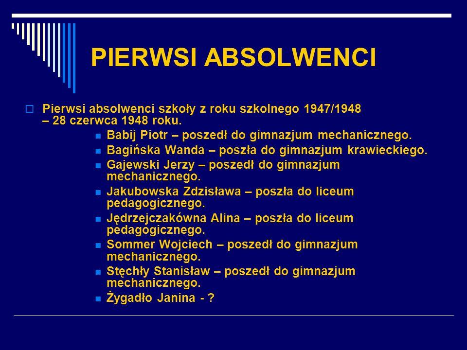 PIERWSI ABSOLWENCI Pierwsi absolwenci szkoły z roku szkolnego 1947/1948 – 28 czerwca 1948 roku.
