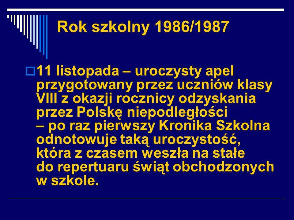 Rok szkolny 1986/1987