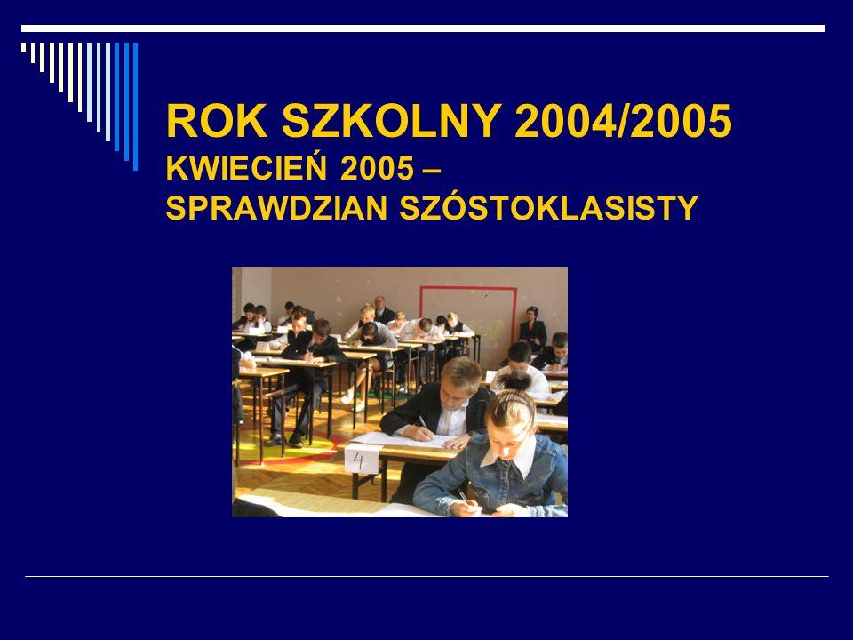 ROK SZKOLNY 2004/2005 KWIECIEŃ 2005 – SPRAWDZIAN SZÓSTOKLASISTY