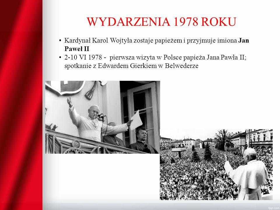 WYDARZENIA 1978 ROKU Kardynał Karol Wojtyła zostaje papieżem i przyjmuje imiona Jan Paweł II.