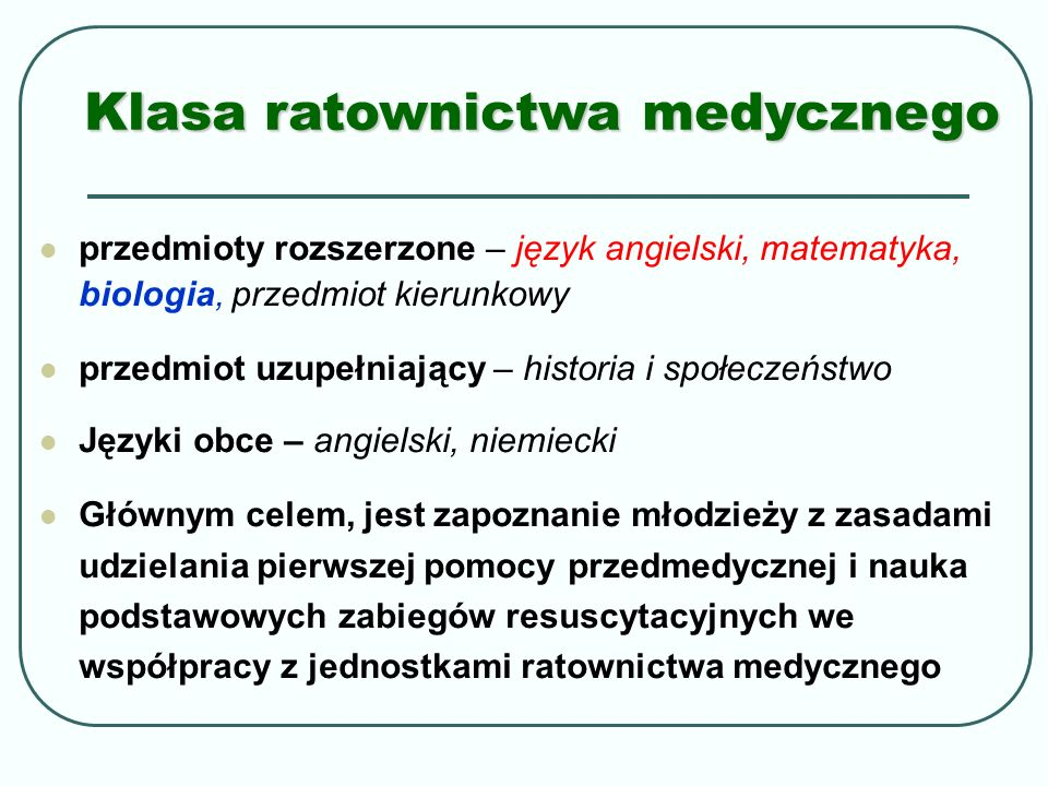 Klasa ratownictwa medycznego