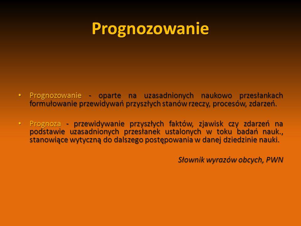Prognozowanie Prognozowanie - oparte na uzasadnionych naukowo przesłankach formułowanie przewidywań przyszłych stanów rzeczy, procesów, zdarzeń.