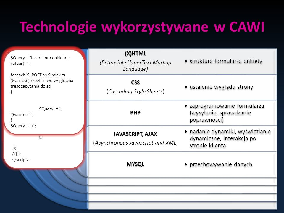 Technologie wykorzystywane w CAWI