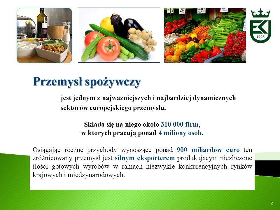 Przemysł spożywczyjest jednym z najważniejszych i najbardziej dynamicznych sektorów europejskiego przemysłu.