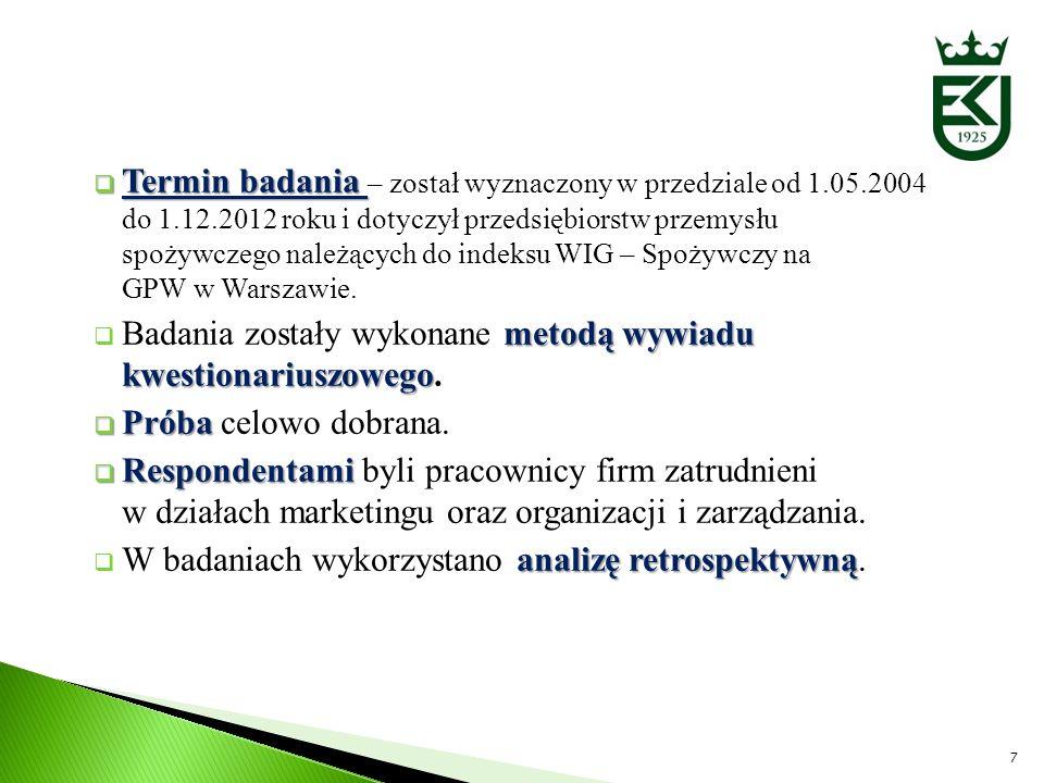 Termin badania – został wyznaczony w przedziale od 1.05.2004 do 1.12.2012 roku i dotyczył przedsiębiorstw przemysłu spożywczego należących do indeksu WIG – Spożywczy na GPW w Warszawie.