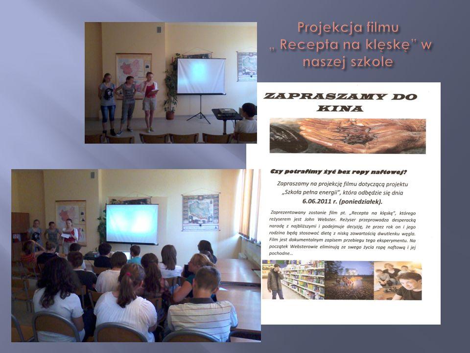 """Projekcja filmu """" Recepta na klęskę w naszej szkole"""