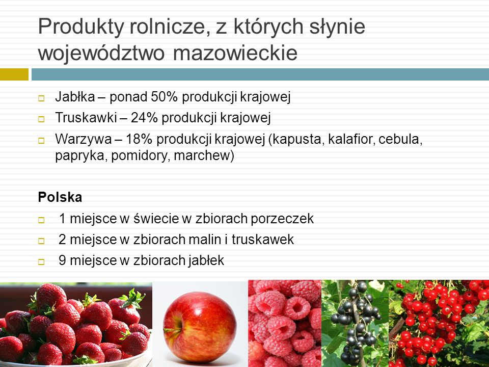 Produkty rolnicze, z których słynie województwo mazowieckie