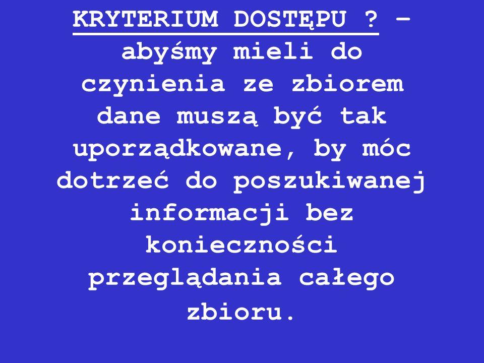 KRYTERIUM DOSTĘPU .