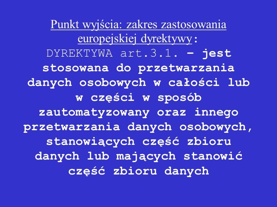 Punkt wyjścia: zakres zastosowania europejskiej dyrektywy: DYREKTYWA art.3.1.