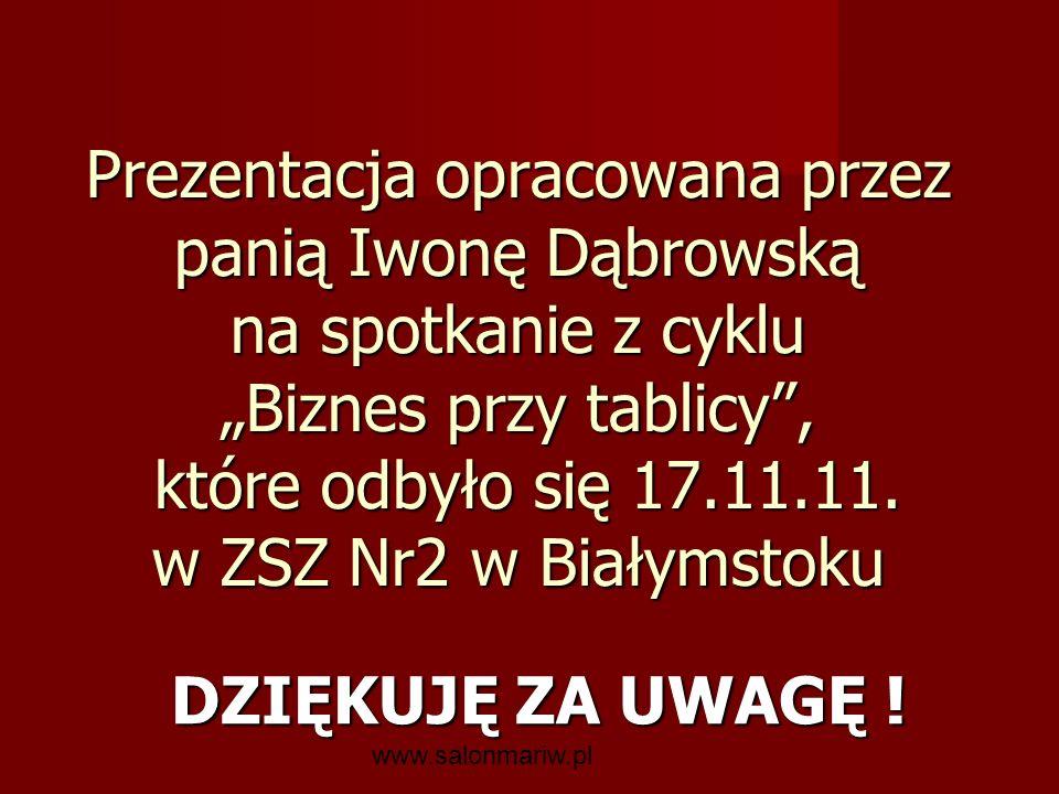 """Prezentacja opracowana przez panią Iwonę Dąbrowską na spotkanie z cyklu """"Biznes przy tablicy , które odbyło się 17.11.11. w ZSZ Nr2 w Białymstoku"""