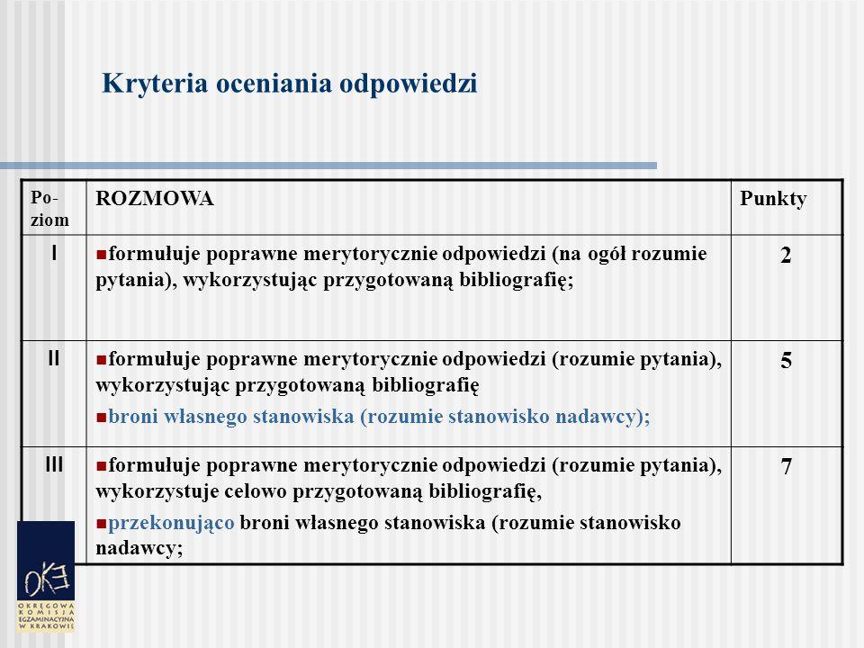 Kryteria oceniania odpowiedzi