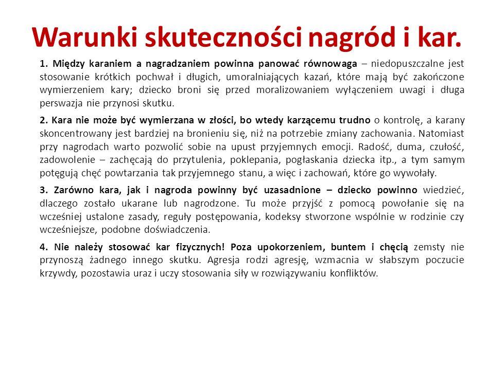 Warunki skuteczności nagród i kar.