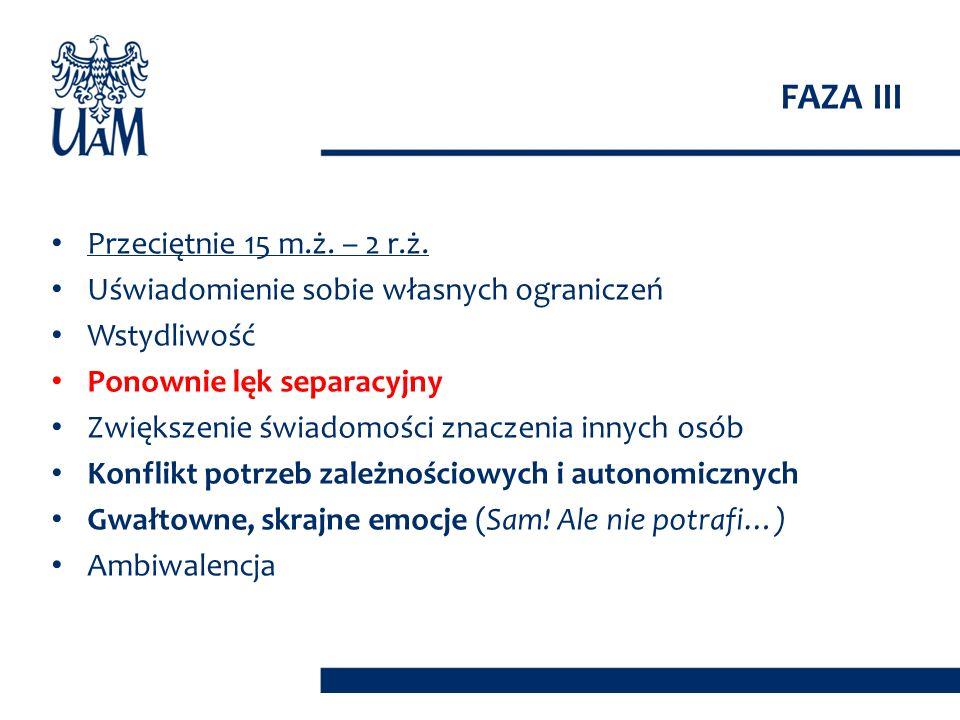 FAZA III Przeciętnie 15 m.ż. – 2 r.ż.