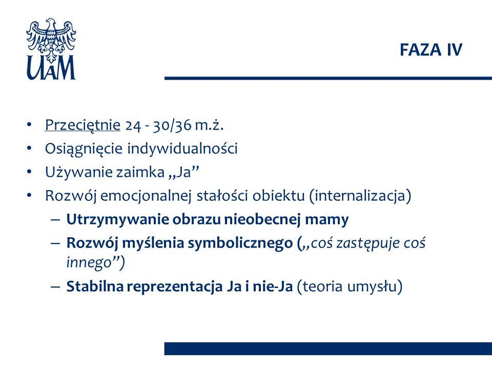FAZA IV Przeciętnie 24 - 30/36 m.ż. Osiągnięcie indywidualności
