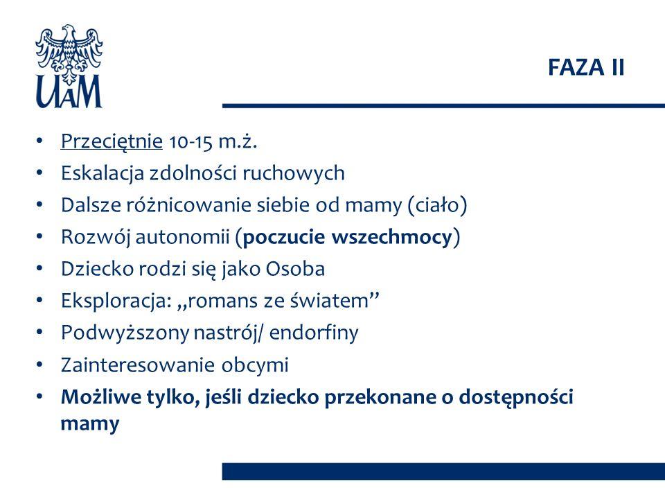 FAZA II Przeciętnie 10-15 m.ż. Eskalacja zdolności ruchowych