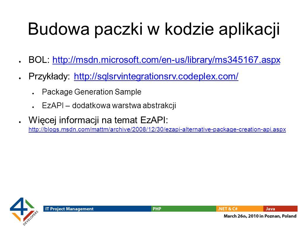 Budowa paczki w kodzie aplikacji