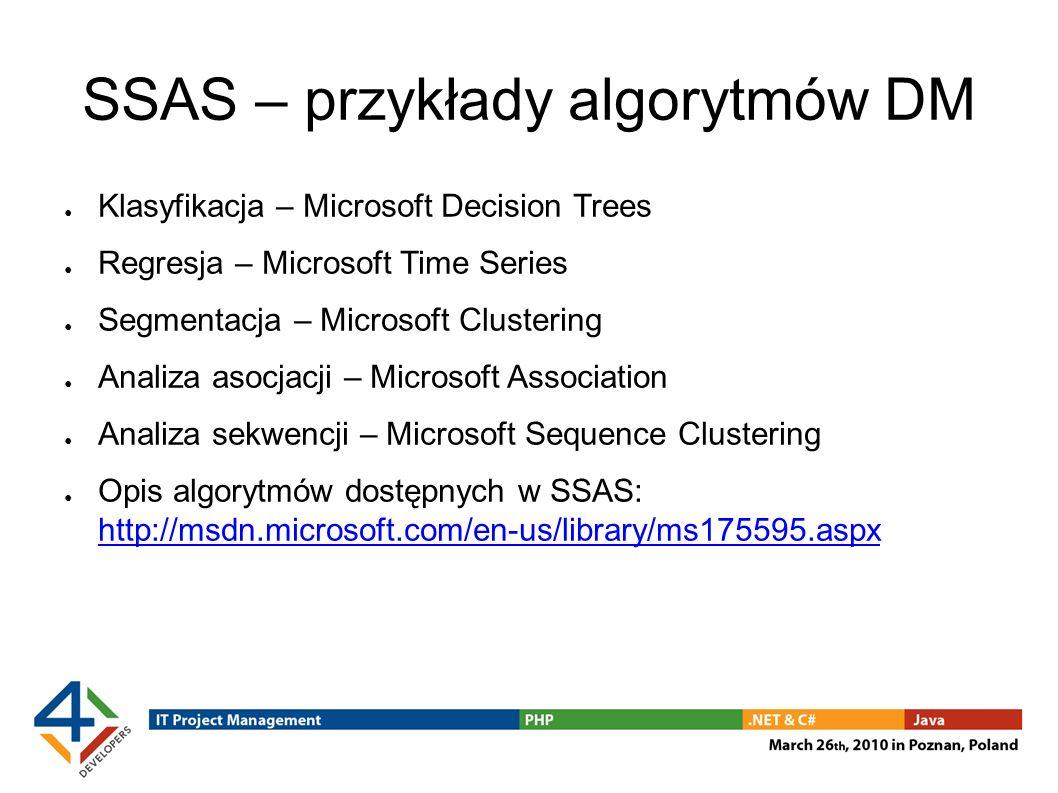 SSAS – przykłady algorytmów DM