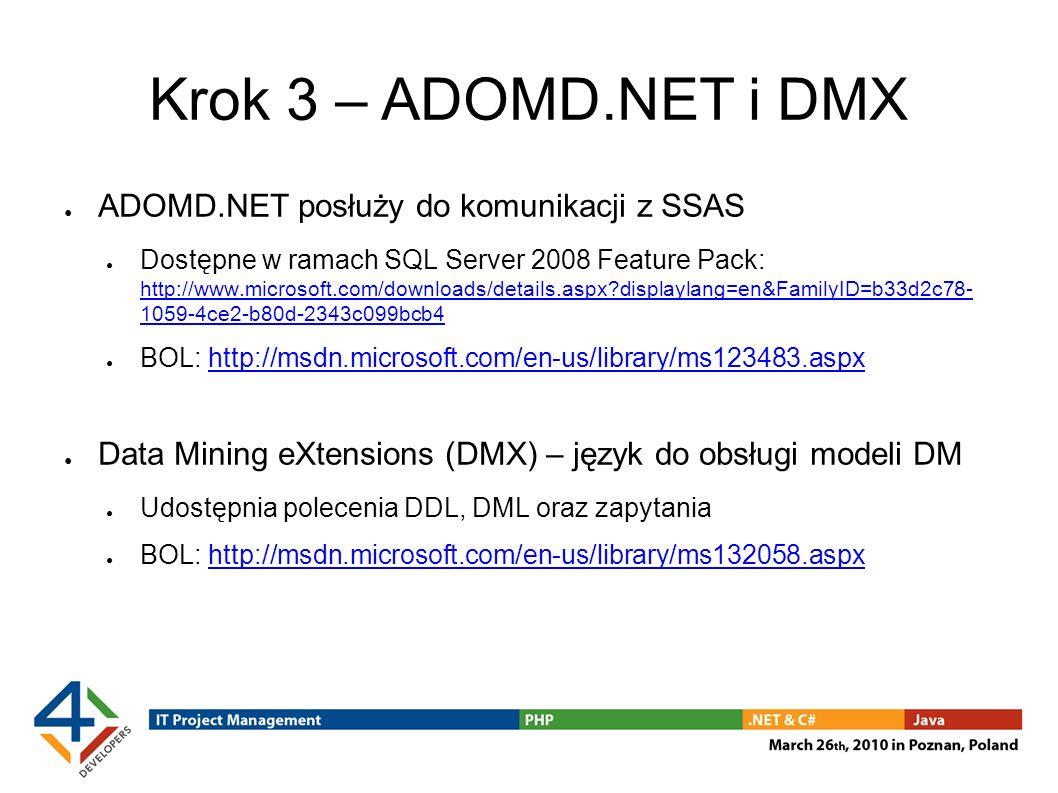 Krok 3 – ADOMD.NET i DMX ADOMD.NET posłuży do komunikacji z SSAS
