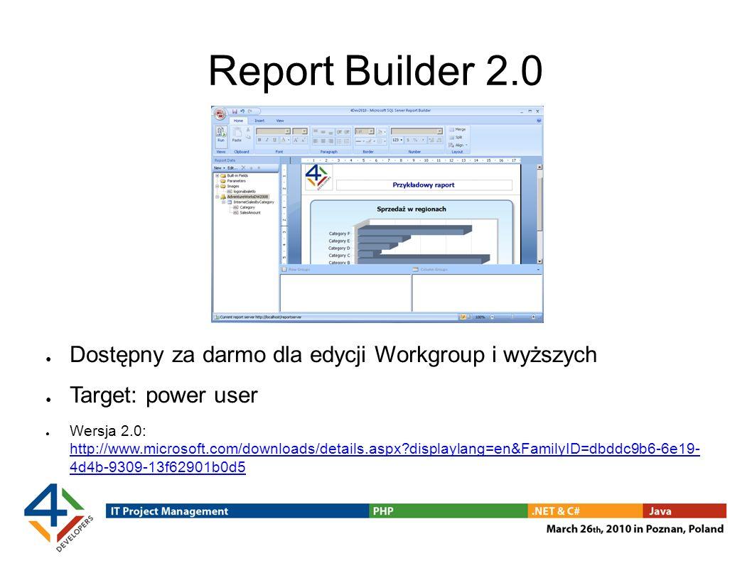 Report Builder 2.0 Dostępny za darmo dla edycji Workgroup i wyższych