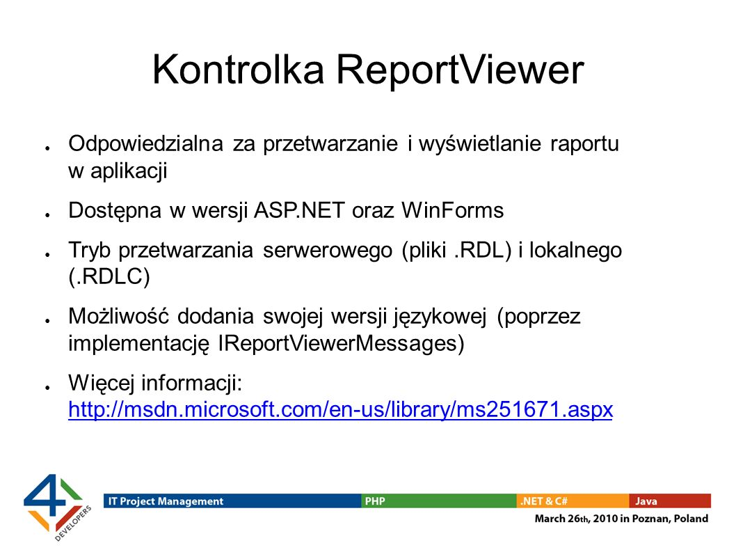 Kontrolka ReportViewer