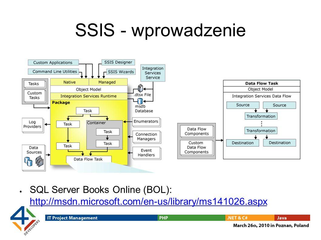 SSIS - wprowadzenie SQL Server Books Online (BOL): http://msdn.microsoft.com/en-us/library/ms141026.aspx.