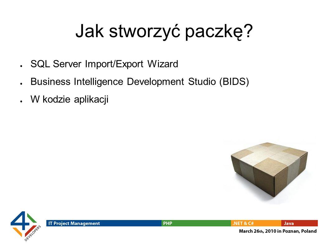 Jak stworzyć paczkę SQL Server Import/Export Wizard